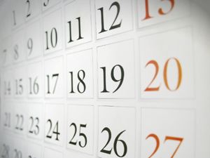 Calendar dates from monday to sunday