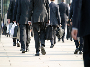People walking away